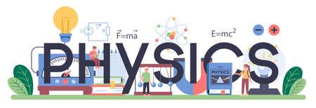 Physics school subject typographic header. Scientist explore electricity,