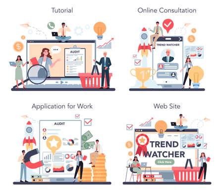 Trend watcher online service or platform set. Specialist tracking Illustration