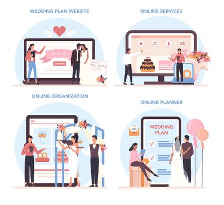 Wedding planner online service or platform set. Professional organizer