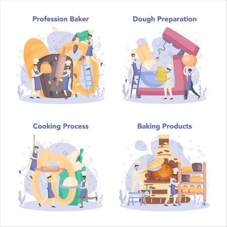 Baker and bakery concept set. Chef in the uniform baking bread. Vektorgrafik