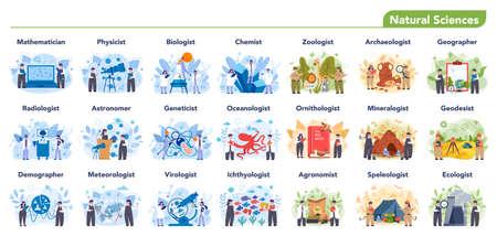 Natural scientist profession set illustration. Idea of scientific Vetores