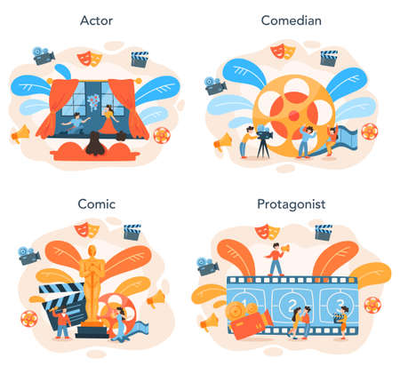 Actor and actress concept set. Idea of creative people and profession
