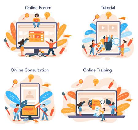 Advert designer online service or platform set. Artist creating