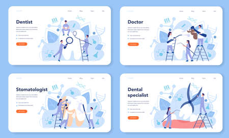 Dentist profession web banner or landing page set. Dentists