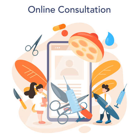 Plastic surgeon online service or platform. Idea of body and face