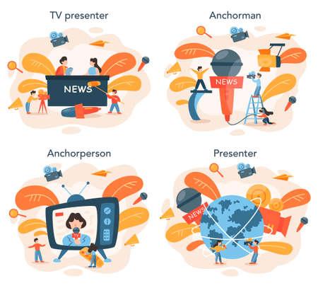 TV presenter concept set. Television host in studio. Broadcaster