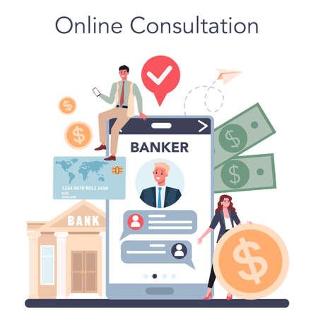 Banker or banking online service or platform. Idea of finance
