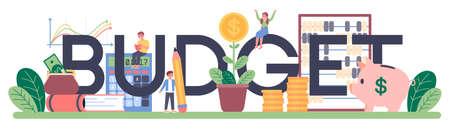 Budget typographic header. Student studying economics. Idea Çizim