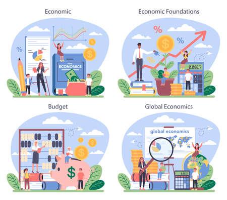 Economy school subject concept set. Student studying economics Çizim
