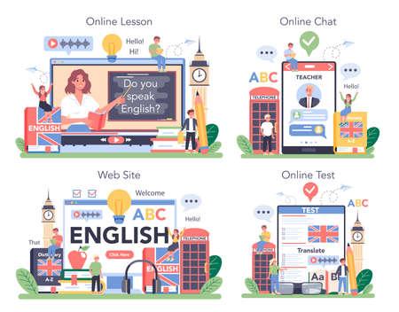 English class online service or platform set. Study foreign languages