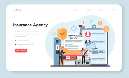 Insurance agency web banner or landing page. Idea of security