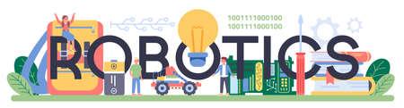 Robotics school subject typographic header. Robot engineering