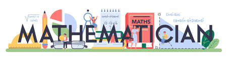 Mathematician ypographic header. Learning mathematics, idea of education