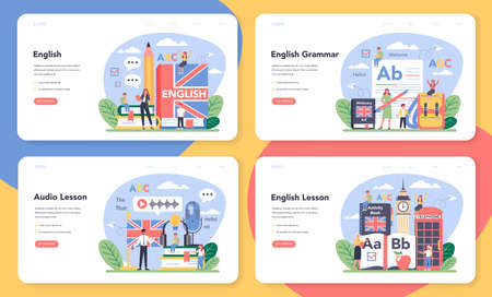 English class web banner or landing page set. Study foreign languages