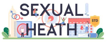 Sexual education typographic header. Sexual health lesson Ilustración de vector