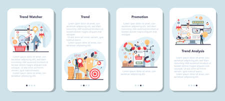 Trend watcher mobile application banner set. Specialist in tracking