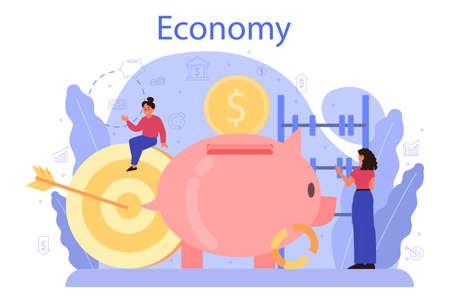 Economy school subject concept. Student studying economics 向量圖像