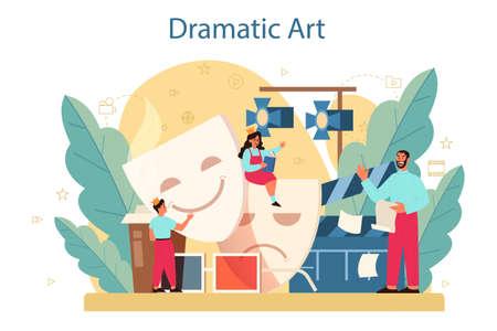Drama club concept. Children creative subject, school play. Kid