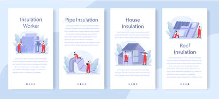 Insulation mobile application banner set. Thermal or acoustic insulation Vecteurs