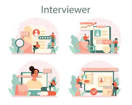 Job interview concept set. Idea of employment and hiring.