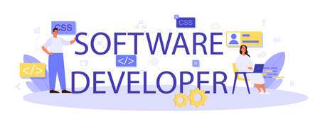 Software developer typographic header. Idea of working on the computer