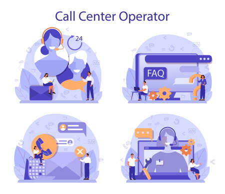 Call center or technical support concept set. Idea of customer service 向量圖像