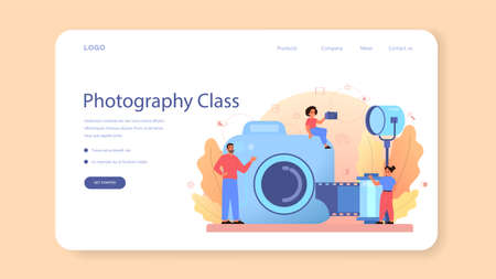 Photography school course web banner or landing page.