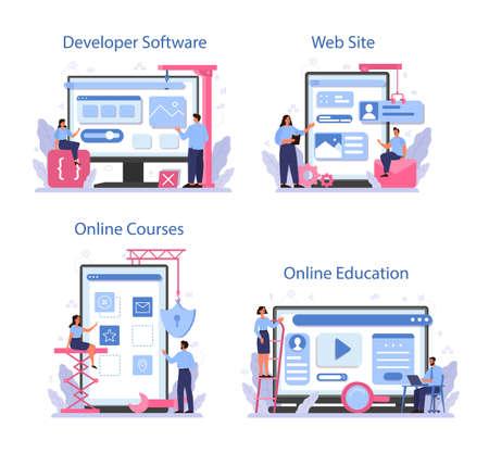Software developer online service or platform set. Idea of programming