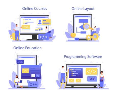 Programming online service or platform set. Idea of working on the computer