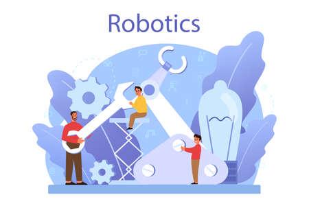 Robotics school subject concept. Robot engineering and programming Illusztráció