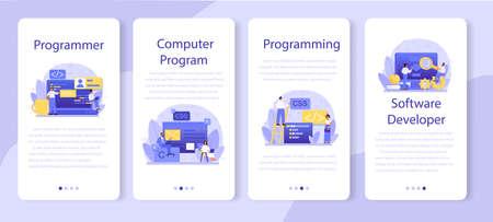 Programming mobile application banner set. Idea of working