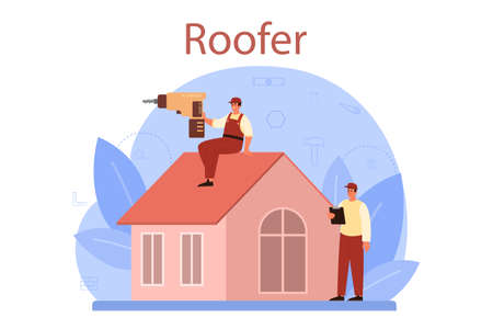 Roof construction worker. Building fixing and house renovation.