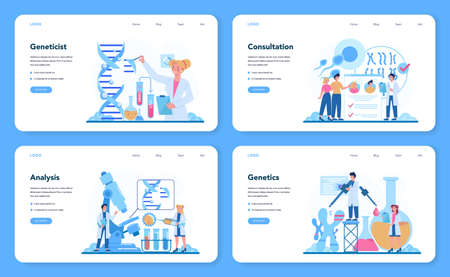 Geneticist web banner or landing page set. Medicine and science