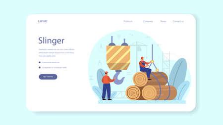 Slinger web banner or landing page. Professional workers Illusztráció