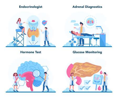 Endocrinologist concept set. Thyroid examination. Doctor examine hormone