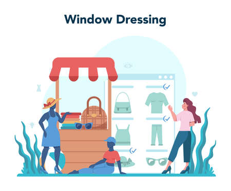 Store merchandiser. Shop and showcase designer. Professional Stock fotó - 155327386