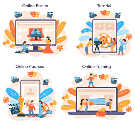 Actor and actress online service or platform set. Idea of creative Иллюстрация