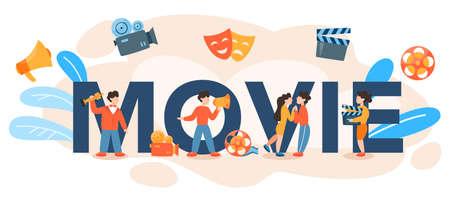 Movie typographic header. Idea of creative people and profession. Vettoriali