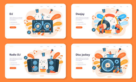 DJ web banner or landing page set. Person standing at turntable