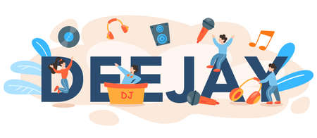DJ typographic header. Person standing at turntable mixer make