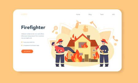 Fireman web banner or landing page. Professional fire brigade Stock Illustratie