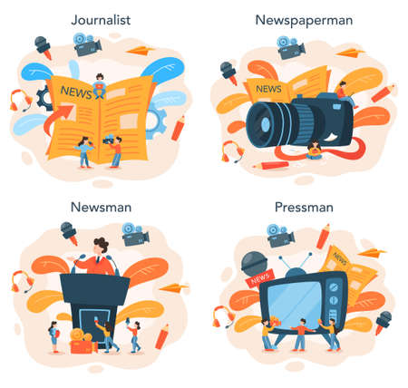 Journalist concept set. TV reporter with microphone. Mass media