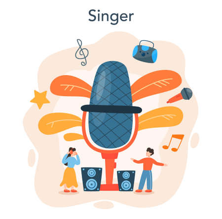 Professional singer concept. Performer singing with microphone.