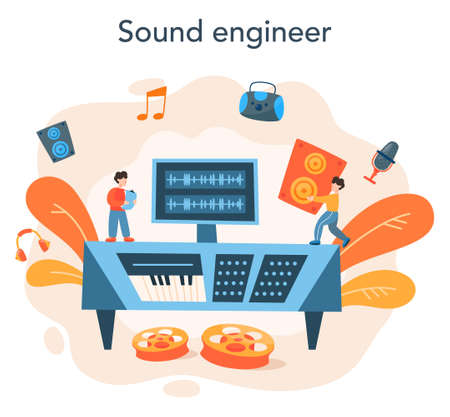 Sound engineer concept. Music production industry, sound