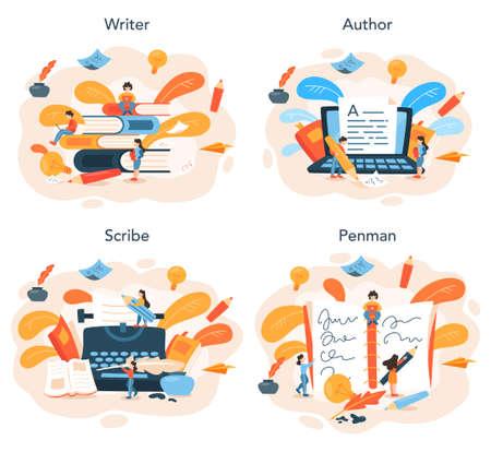 Professional writer or journalist concept illustration set. Idea of creative