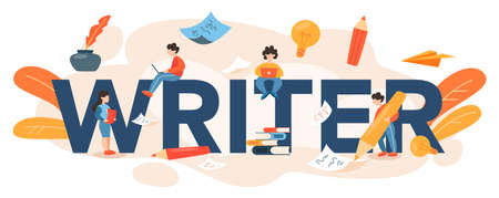 Professional writer or journalist typographic header. Idea of creative