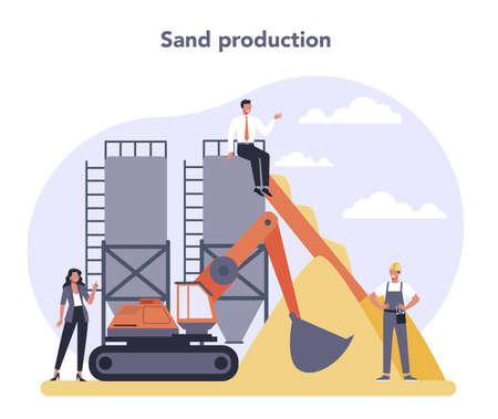 Constructin material production industry. Sand production. Building Illusztráció