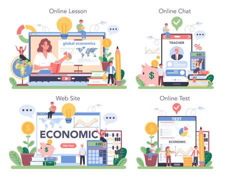 Economy school subject online service or platform set. Student