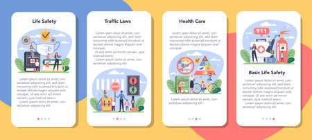Healthy lifestyle class mobile application banner set. Idea of life Иллюстрация