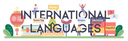 International language typographic header. Professor teaching foreign